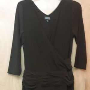 Adrianna Papell Brown ruched vneck dress NWT Sz 8
